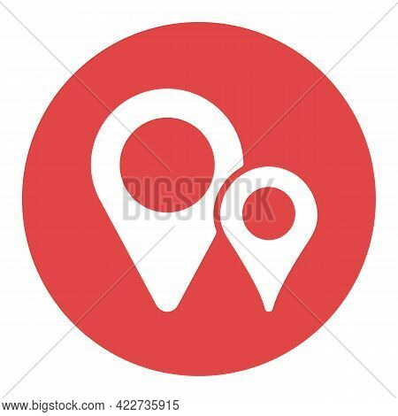 Two Pin Map White Glyph Icon. Map Pointer. Map Markers. Gps Location Symbol. Navigation Sign. Graph