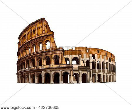 Coliseum In Rome, Italy, Colored Drawing, Realistic. Vector Illustration Of Paints