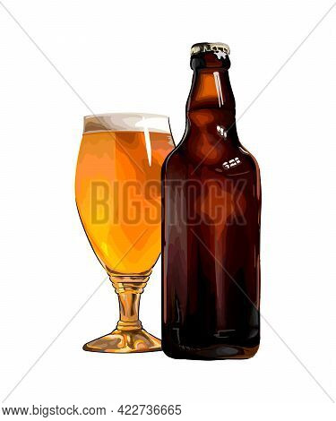 Beer Mug With Bottle, Colored Drawing, Realistic. Vector Illustration Of Paints