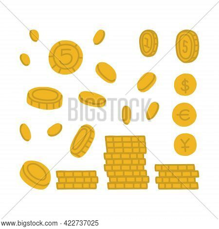 Gold Coins In Different Angles And With Different Details. Yellow Coins In A Pile, Flying Sideways,