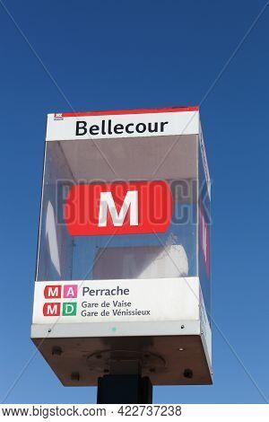 Lyon, France - August 15, 2016: Metro Tcl Entrance Sign In Lyon Bellecour, France. The Lyon Metro Is