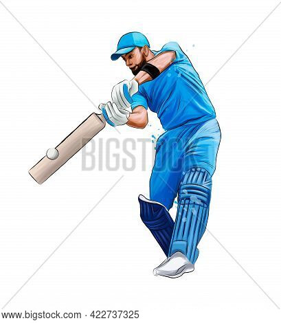Abstract Batsman Playing Cricket From Splash Of Watercolors, Colored Drawing, Realistic. Vector Illu