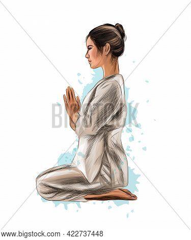 Abstract Woman Meditating From Splash Of Watercolors. Lotus Yoga Pose Fitness. Vector Illustration O