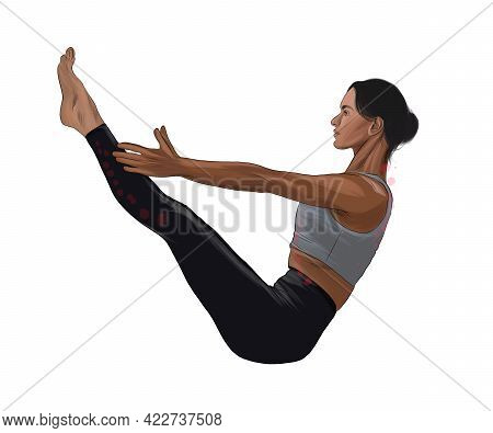 Abstract Young Woman Is Engaged In Yoga Or Pilates, Doing Exercises From Splash Of Watercolors. Vect