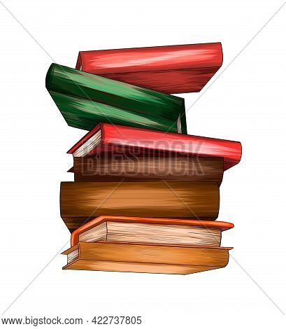 Stack Of Multi Colored Books From Splash Of Watercolors, Colored Drawing, Realistic. Vector Illustra