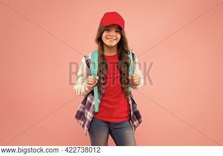 Regular School Day. Stylish Schoolgirl. Casual Style Comfortable For Spending Entire Day School. Gir