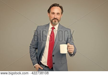 Successful Bank Employee Drink Morning Coffee. Having Business Lunch. Attorney With Tea Cup. Busines