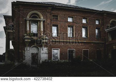 A Gloomy View Of A Building In A Former Noble Mansion. Polibino Village, Dankovsky District, Lipetsk