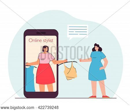 Online Stylist On Phone Screen Choosing Clothes For Woman. Flat Vector Illustration Of Woman Using O