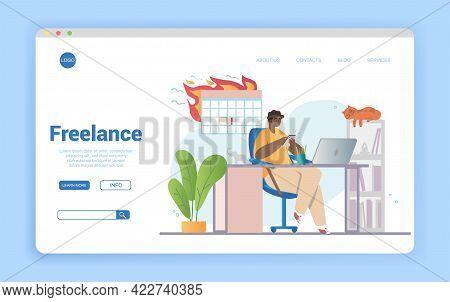 Remote Work Disadvantages Concept. Problems Of Home Office. Procrastination, Deadline Missing. Freel