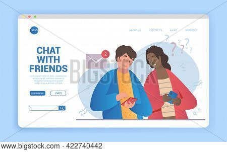 Happy Young Diverse Multiracial Couple Using Smartphones And Chatting. Flat Cartoon Vector Illustrat