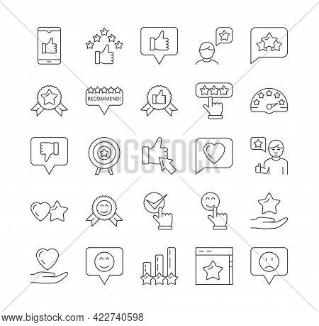 Simple Set Of Feedback, Rating, Customer Review And Customer Satisfaction Related Vector Icons. Cont