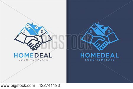 Home Deal Logo Design. Abstract House Combine With The Deal Shaking Hand Symbol Logo Design Illustra