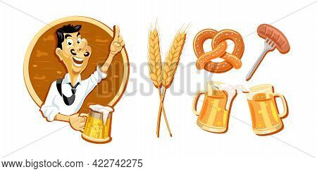 Cheerful Man With A Glass Of Beer, Beer Set From Different Items. A Mug Of Beer, Wheat, Sausages, Pr