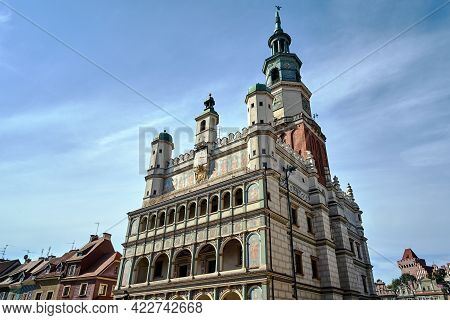 Renaissance Town Hall And Historic Tenement Houses In Old Market  In Poznan, Monochrome