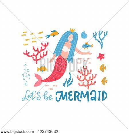 Cute Mermaid Character T-shirt Clipart. Mythical Marine Princess With Colorful Hair. Lets Be Mermaid
