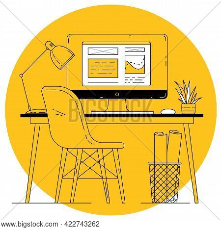 Flat Design Thin Line Vector Office Worplace On Yellow Background. Manager Working Place With Comput