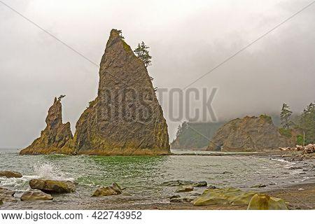 Coastal Seascape On A Foggy Day At Rialto Beach In Olympic National Park In Washington