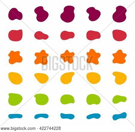 Blob Shapes Vector Set. Organic Abstract Splodge Elemets Collection Inkblot Simple Silhouette. Minim