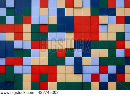 Abstract Image. Red Purple Blue Green White Yellow Blocks With Different Color Variations. Horizonta