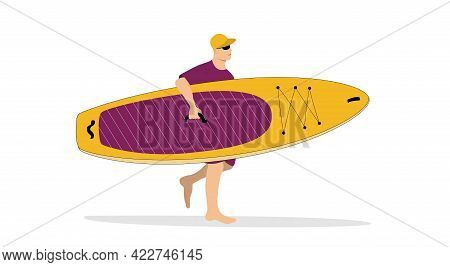 Man Brings The Sup Board. Summer Marine Concept. Minimal Illustration For Landing Page Or Advertisem