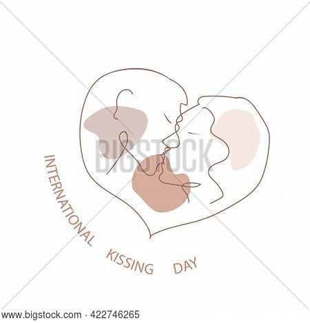 World Kiss Day - Vector One- Line Drawn On White Background. Congratulate Your Beloved On This Fun H