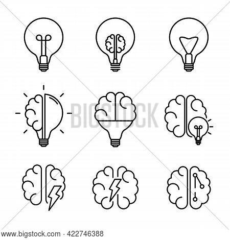 Creative Idea, Brainstone Line Icon Collection Set. Brain In Lightbulb, Brain And Artificial Intelli