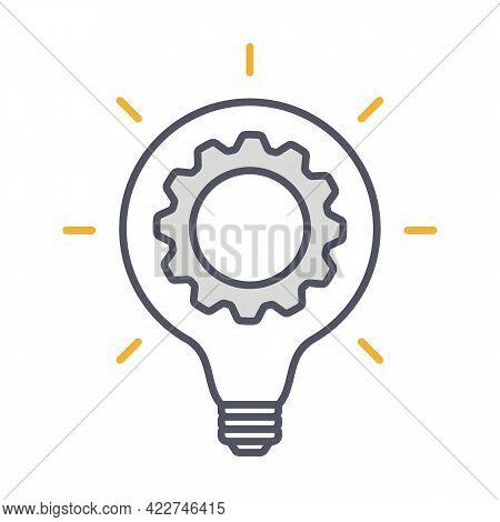 Innovation Thin Line Symbol, Cogwheel And Lamp Bulb Icon. Innovation Logo. Vector Illustration