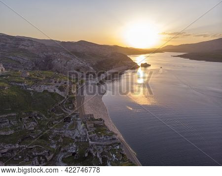 Aerial Drone Shot At Sunset Time On The Tigres River In Eastern Turkey, Mesopotamia, The Ancient Cit