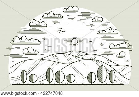 Beautiful Scenic Grasslands And Trees Vector Linear Illustration Isolated On White, Outdoor Hiking C