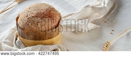 Banner With Bread On White Textile Tablecloth, Wheat Ear Decorations. Wholemeal Dinkel, Spelt And Ry