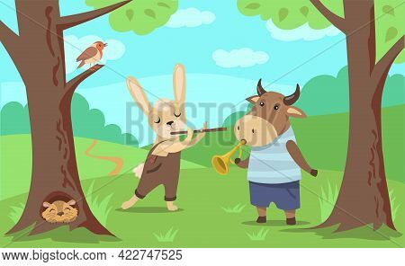 Animals Playing Music Illustration In Cartoon Style. Bull And Hare Playing Horn And Flute. Ferret An