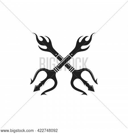 Trident Logo Template Vector Icon Illustration