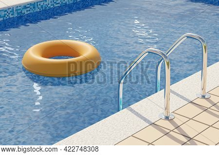 Yellow Float Floating In A Pool. Summer Concept. 3d Illustration.