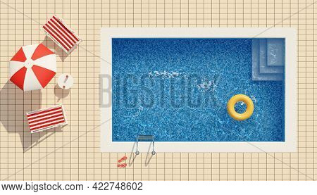 Top View Of A Swimming Pool, Deck Chairs And Umbrella. Summer Concept. 3d Illustration.