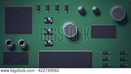 Composition of close up of computer processor and circuit board. global data processing, computing and technology concept digitally generated image.