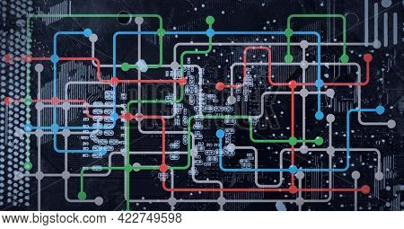 Composition of computer processor with network of connections and circuit board. global data processing, computing and technology concept digitally generated image.