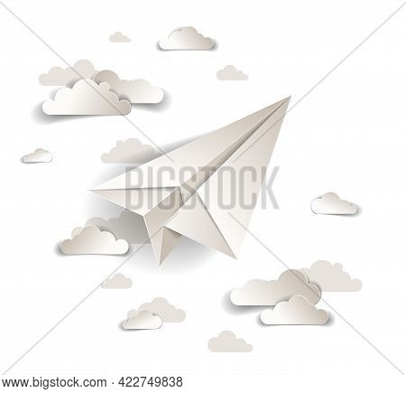 Origami Paper Plane Toy Flying In The Sky With Beautiful Clouds, Perfect Vector Illustration Of Scen