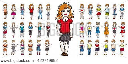 Little Girls Children Happy And Cute Standing In Full Body Length Isolated Over White Vector Illustr