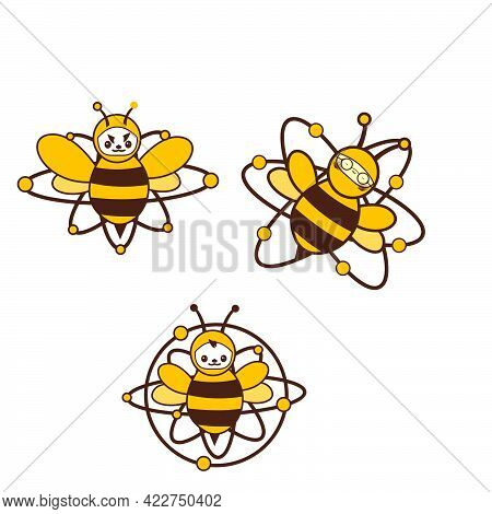 Set Atomic Bee Character Logo And Vector Icon
