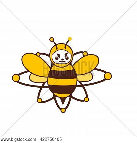 Brave Atomic Bee Funny Character For Logo And Vector Icon