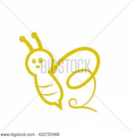 B Initials In Bee Shape Logo And Vector Icon
