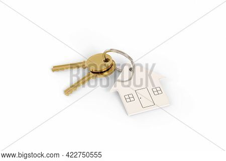 House Shaped Keychain Isolated On White Background. 3d Illustration.