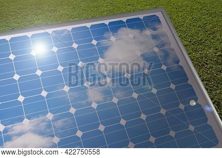 Solar Panel Where The Blue Sky Is Reflected. 3d Illustration.
