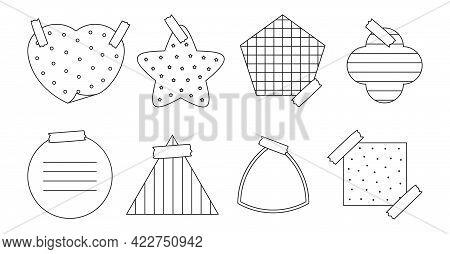 Black Outline Paper Sticker Set. Various Shapes Notepad Of Reminder Messages Or Organizer. Memo Stic