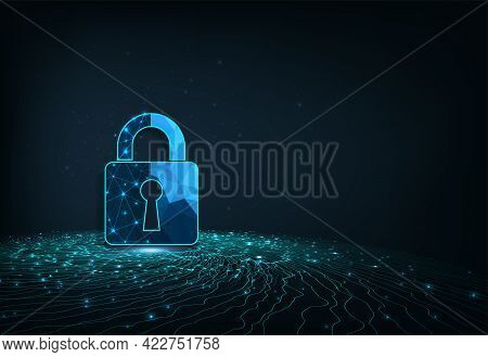 Network Protection And Cyber Security Concept Design.visualization Of Cyber Security With Padlock  L
