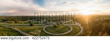 Aerial Panoramic View Of Interchange On Trans-canada Highway 1 In Fraser Valley During Spring Sunset
