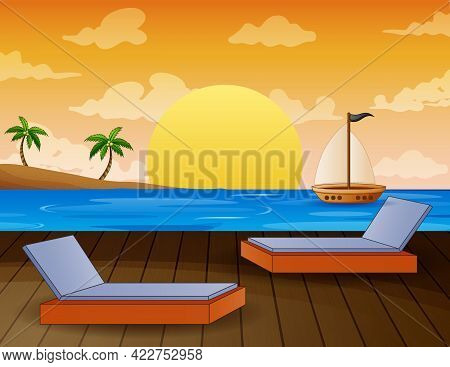A Tropical Landscape Overlooking The Ocean Illustration