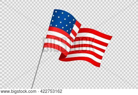 Waving Flag Of American Isolated  On Png Or Transparent  Background,symbols Of Usa , Template For Ba