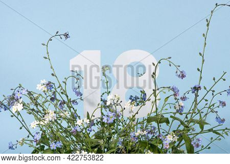 Number Eighteen Among Blue Forget-me-not Flowers.  Birthday, Anniversary, Jubilee Concept. For Invit